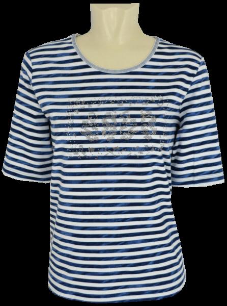 1/2 Arm T-Shirt in bleu geringelt mit Glanz