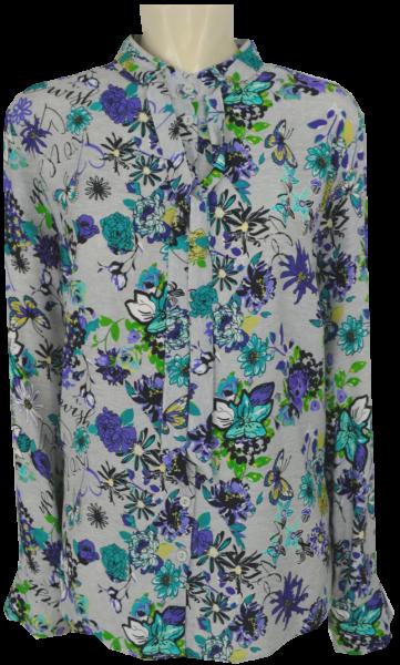 Blusen-Shirt mit Bändchen in allover gemustert